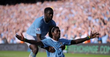 Arsenal fans still angry as Emmanuel Adebayor's iconic Man City celebration is remembered 12 years on